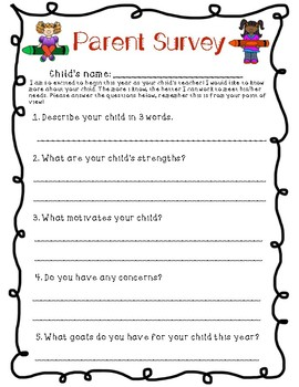 Parent Survey (Beginning of the year)