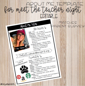 About The Teacher Brochure for Open House