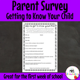 Parent Survey: Getting To Know Your Child