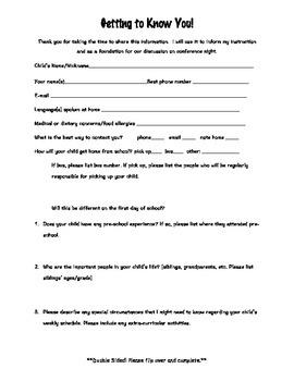 Parent Survey Information Sheet