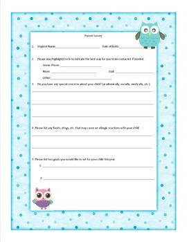 Parent Survey- Owl Theme