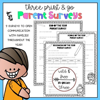 THREE Parent Surveys (Beginning, Mid-Year, & End of Year w/ Editable Name)