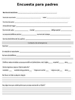 Parent Survey and Information Collection Form