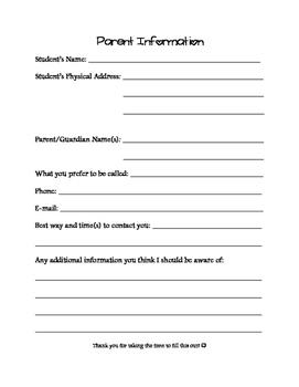 Parent Survey and Information Sheet