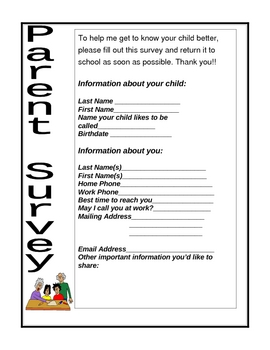 Parent Survey for Back to School