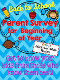 Parent Survey for Back to School