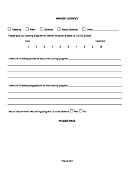 Parent Survey for Tutoring Program