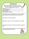 Parent Survey for the Beginning of the Year