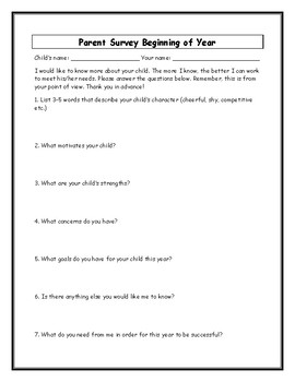 Parent Surveys: Beginning, Middle and End of Year