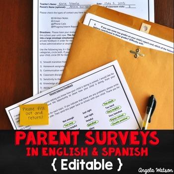 Parent Surveys in Spanish (Editable + Google Forms)