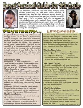 Parent Survival Guide for 8th Grade