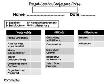 Secondary Parent-Teacher Conference Form for Special/Exloratory Teachers
