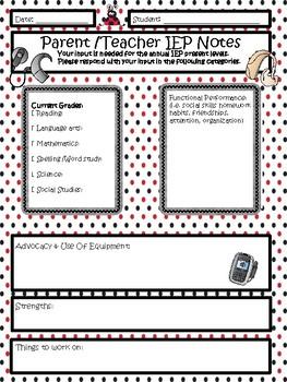 Parent/Teacher Annual Review Feedback Form