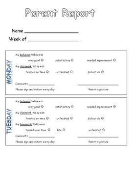 Parent - Teacher Behavior Communication Report