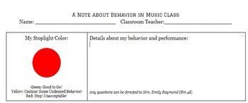 Parent/Teacher Behavior Notes