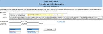 Speech & Language Eval: Parent/Teacher Checklist with Narrative Generator