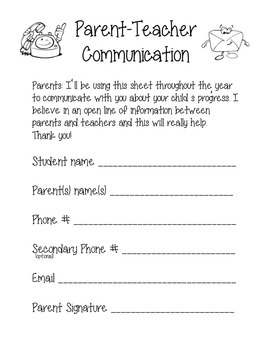 Parent Teacher Communication Form