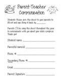 Parent Teacher Communication Form
