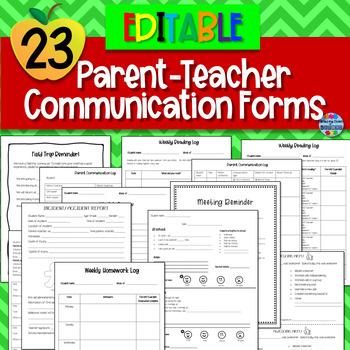 Parent-Teacher Communication Forms {EDITABLE}