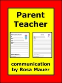 Parent Teacher Communication Forms and Tracking Chart