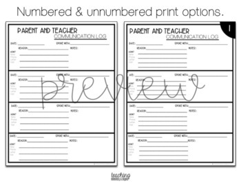 Parent and Teacher Communication Log: Documenting all Communication with Parents