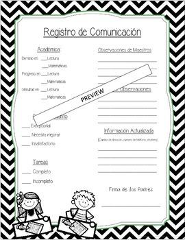 Parent Teacher Communication Log - ENGLISH AND SPANISH