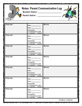 parent teacher meeting report template - parent teacher communication log and documentation sheet
