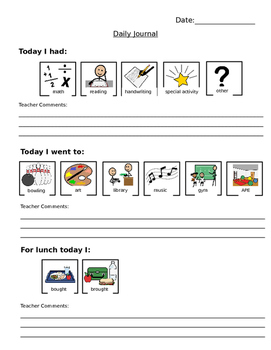 Parent/Teacher Communication Notebook Pages