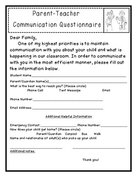 Parent Teacher Communication Questionnaire
