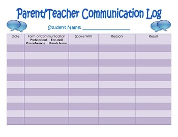 Parent Teacher Communication Record Form