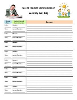 Parent-Teacher Communication Weekly Call Log