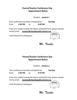 Parent Teacher Conference Appointment Slips