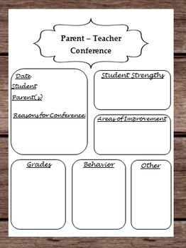 Parent Teacher Conference Planner - About Student Information - Teacher Binder