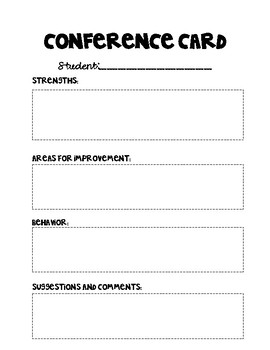 Parent/Teacher Conference Card
