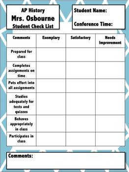 Parent Teacher Conference Check List - Fully Editable