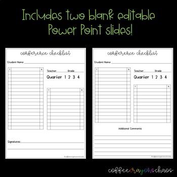 Parent Teacher Conference Checklist