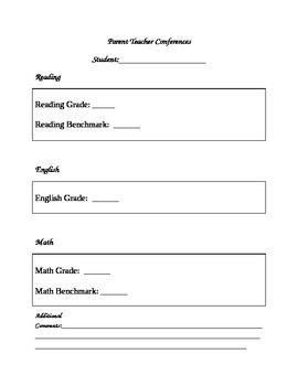 Parent Teacher Conference Checklist for Grades