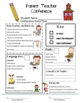 Parent/Teacher Conference - Communication Form