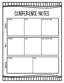 Parent-Teacher Conference Communication Sheet