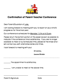 Parent Teacher Conference Confirmation Form