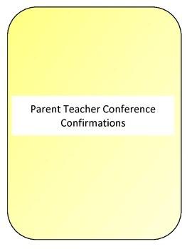 Parent Teacher Conference Confirmation form
