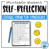 Parent Conference Student Self Reflection / Evaluation Form & Strengths Template