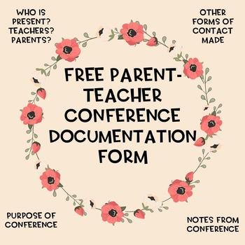 Parent - Teacher Conference Documentation Form {cute Boho theme!}