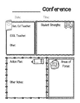 Parent Teacher Conference ESOL ESL Form