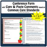 Parent Teacher Conference Form Editable w/Copy & Paste Comments- K & First Grade