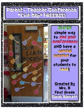 Parent Teacher Conference Exit Slip Freebie