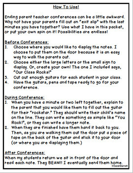 Parent Teacher Conference Exit Slip Freebie
