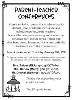 parentteacher conference flyer by shop with sarah tpt