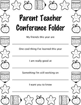 Parent Teacher Conference Folder Cover