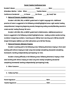 Parent Teacher Conference Form- 1st grade Skills